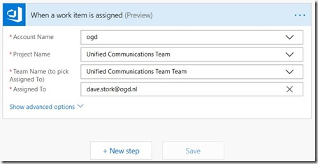 Example of the Azure DevOps trigger when Work Item is assigned