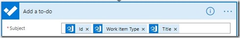 Configuring the Subject with the Azure DevOps id, Work Item Type and Title