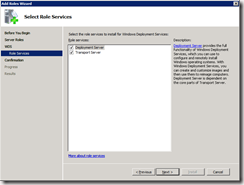 Installing WDS with Transport and Deployment server