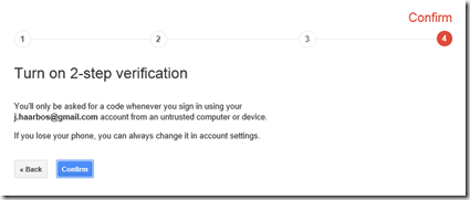 Confirm enabling 2-step verification.