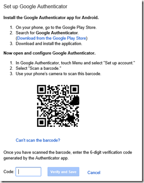 A QR code appears. Start your Windows Phone Authenticator app, add an account (with the plus). It will request an account name and secret key, but you can scan the QR code by pressing the camera icon within the app (not the physical button on your WP phone). Enter the code which appears within the app for you Google account.