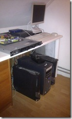 My lab on the floor, the 1U server is not in use.