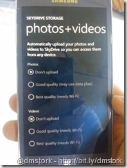 SkyDrive storage settings Photos+Videos
