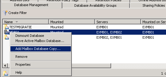 Unable to change database path on Exchange 2010 in a DAG