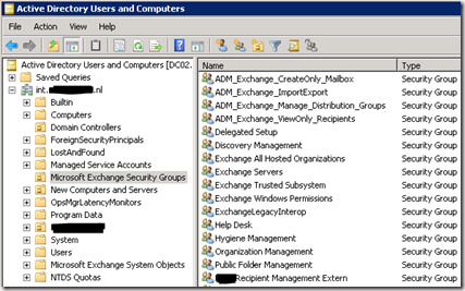 Exchange Role Groups are just Security Groups in the Microsoft Exchange Security Groups OU