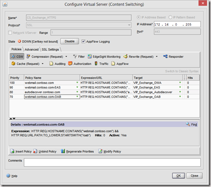 Load balancing Exchange 2010 with Citrix Netscaler using Content