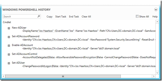 Active Directory Administrative Center PowerShell History for creating user JosH (click for a larger screenshot)