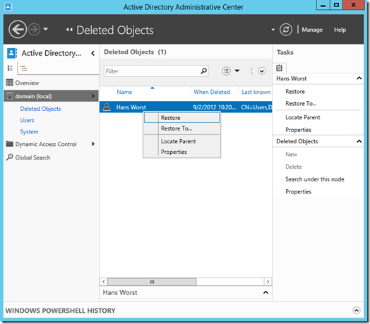 Restoring an user object in the Active Directory Administrative Center (click for a larger screenshot)
