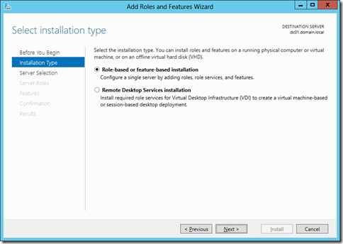 Choose Role-based or Feature-based installation in the Select Installation type screen (click for larger screenshot)