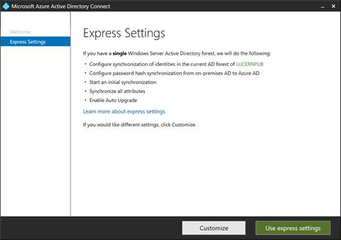 Express Settings (click for original screenshot)
