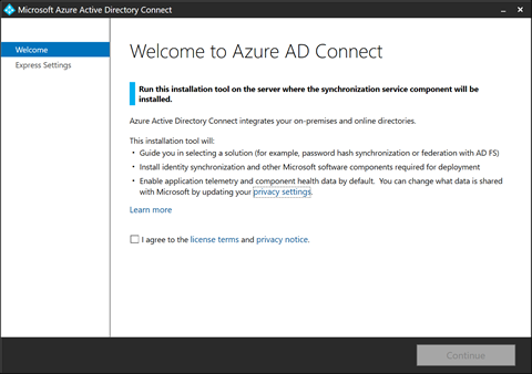 Welcome to Azure AD Connect (click for original screenshot)