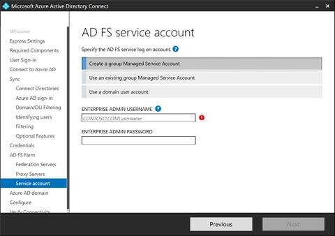 AD FS service account (click for original screenshot)