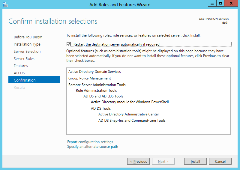 Reusing a role installation xml file in windows server 2012 to confirm installation selections screen of the add roles and features wizard click for larger screenshot yelopaper Images