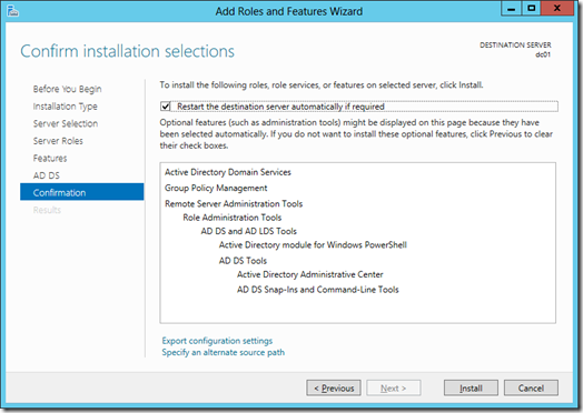 Confirm installation selections screen of the Add Roles and Features Wizard (click for larger screenshot)