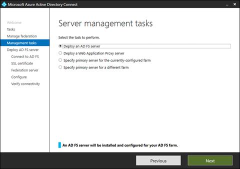 Server management tasks (click for original screenshot)