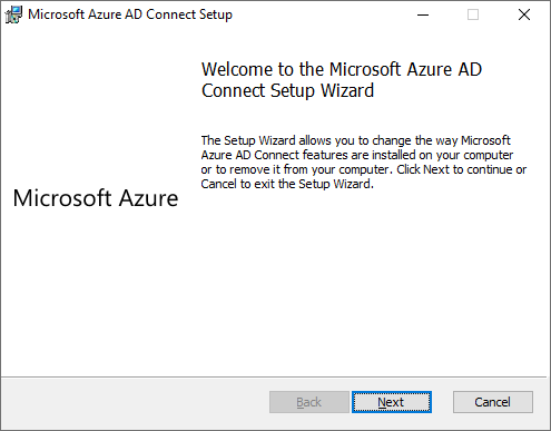 Welcome to the Microsoft Azure AD Connect Setup Wizard