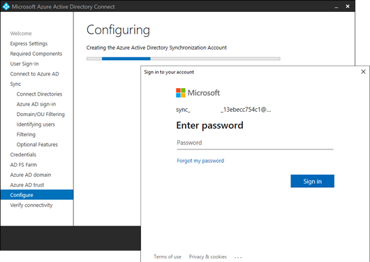 A sign-in window appears while configuring Azure AD Connect (click for original screenshot)