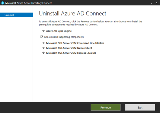 Also uninstall supporting components? (Click for original screenshot)