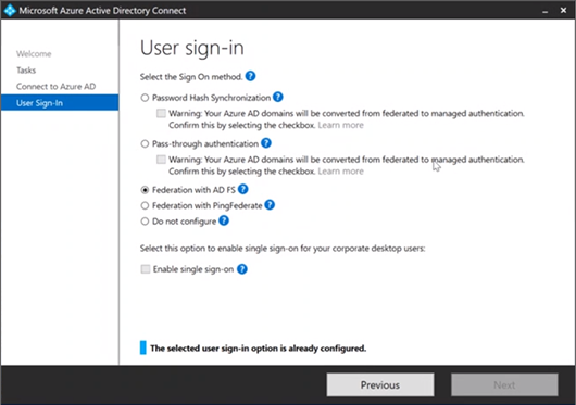 The Enable single sign-on option is greyed out in Azure AD Connect when Federation with AD FS is enabled (click for original sceenshot)