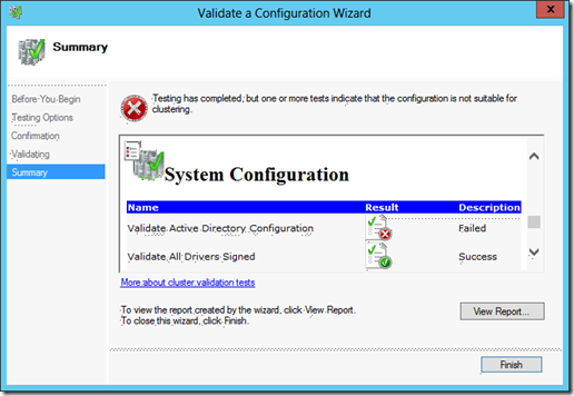 Validation Error on Validate Active Directory Configuration in the Validate a Configuration Wizard (click for original screenshot)