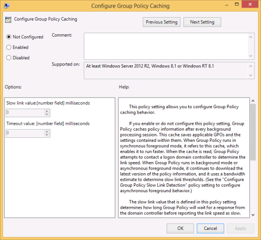 Configure Group Policy Caching setting (click for original screenshot)
