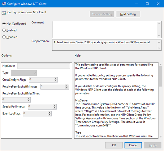 Configure NTP Client Group Policy setting