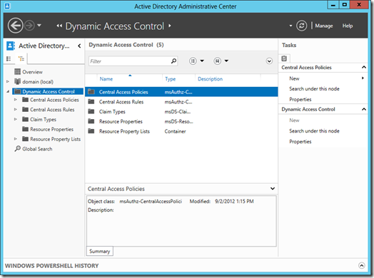 The Dynamic Access Control (DAC) node in Folder View in the Active Directory Administrative Center (click for larger screenshot)