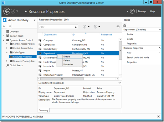 Enabling the Department resource property in Active Directory Administrative Center (click for larger screenshot)