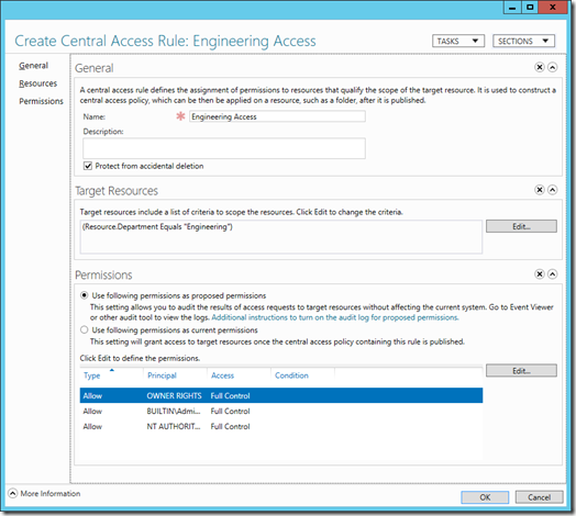 Create a Central Access Rule in Active Directory Administrative Center (click for larger screenshot)