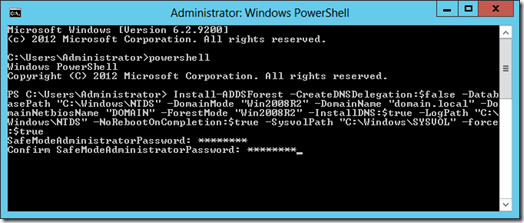 Promoting a server to a Domain Controller using PowerShell (click for larger screenshot)