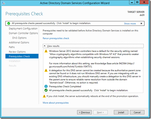 Prerequisites Check screen for the Active Directory Domain Services Configuration Wizard (click for a larger screenshot)