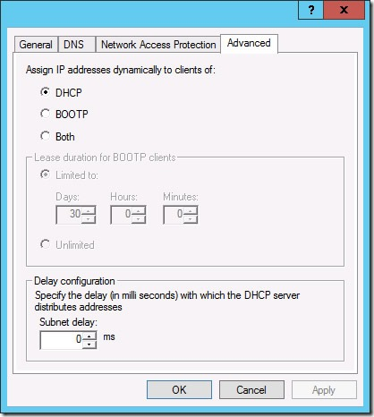 Advanced Properties for a DHCP IPv4 Scope (click for original screenshot)
