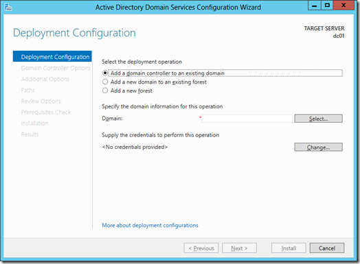 Deployment Configuration screen of the Active Directory Domain Services Cofniguration Wizard (click for a larger screenshot)