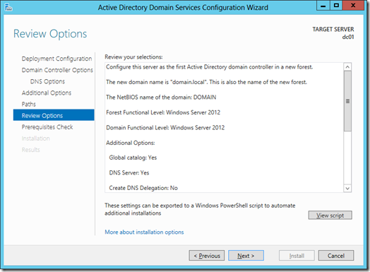 Review Options screen of the Active Directory Configuration Wizard (click for larger screenshot)