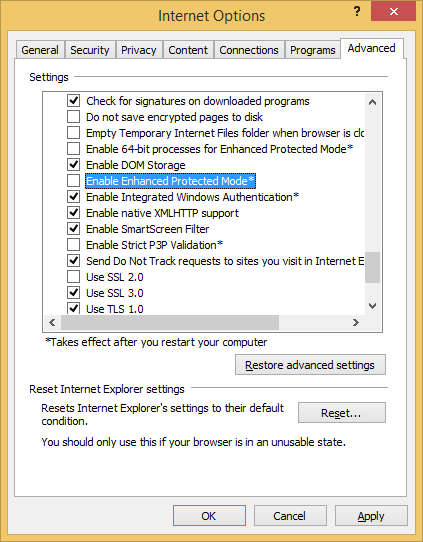 Enable Enhanced Protected Mode in Internet Explorer 11's settings. (click for original screen shot)