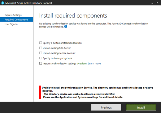 Unable to install the Synchronization Service. The directory service was unable to allocate a relative identifier error in Azure AD Connect (click for original screenshot)