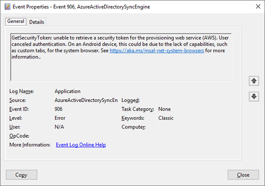 EventID 906: GetSecurityToken: unable to retrieve a security token for the provisioning web service (click for original screenshot)