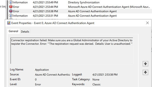 Event ID 0 with source Azure AD Connect Authentication Agent (click for original screenshot)
