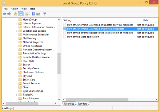 Windows 8.1 Group Policy Editor with the Turn off Automatic Download and Install of updates setting (click for original screenshot)