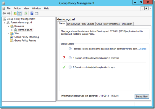 Replication in Progress errors on the Status Tab on the Domain level in the Group Policy Management Console (GPMC) in Windows Server 2012 (click for original screenshot)
