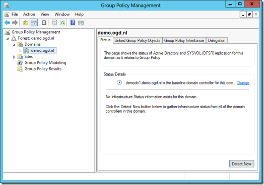 Status Tab on the Domain level in the Group Policy Management Console (GPMC) in Windows Server 2012 (click for original screenshot)
