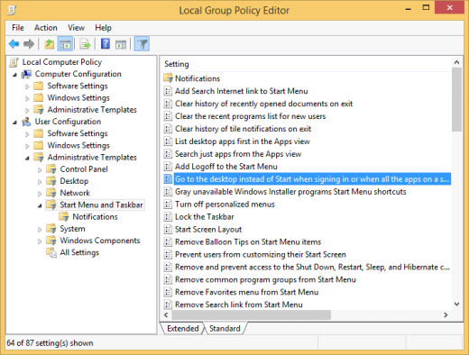 Group Policy setting for Boot To Desktop (click for original screenshot)