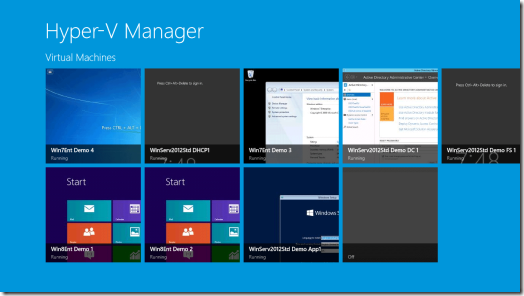Windows 8 Hyper-V Manager App Main Screen (click for original screenshot)