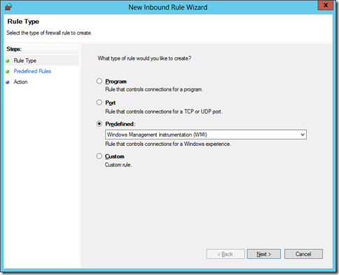 Selecting the Windows Management Instrumentation (WMI) predefined rule for Inbound Rules (click for larger screenshot)