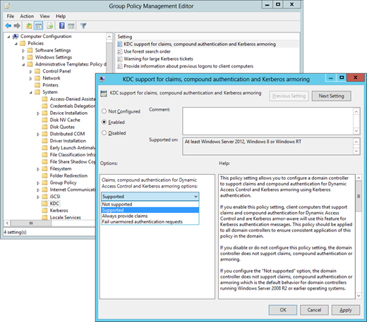 Enabling Kerberos Armoring in Group Policy (click for larger screenshot)