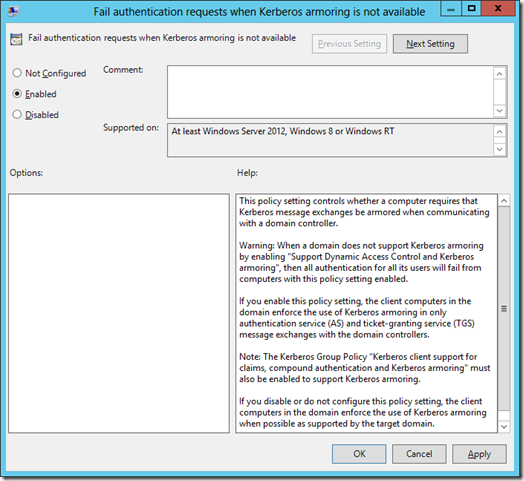 Fail authentication requests when Kerberos armoring is not available in Group Policy (click for larger screenshot