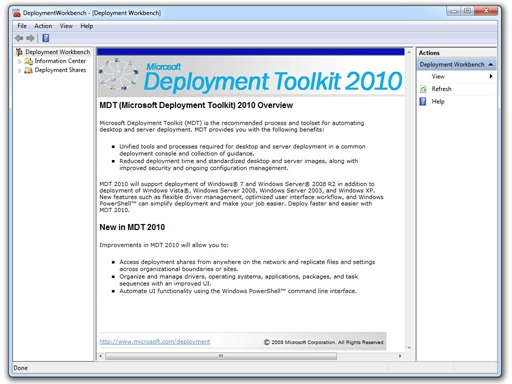 MDT 2010 Workbench - Click for the original screenshot