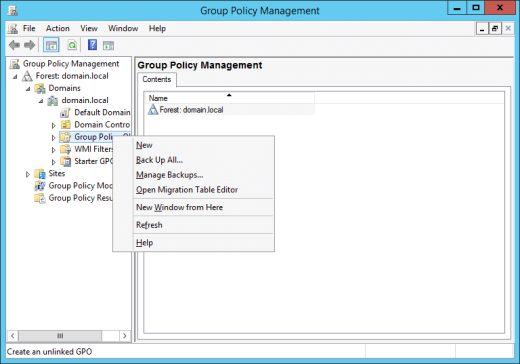 Create a new Group Policy Object in Group Policy Management (click for original screenshot)