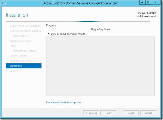 Forest Preparation by the Active Directory Domain Services Configuration Wizard (click for larger screenshot)