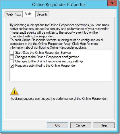 Audit Tab in the Online Responder Properties